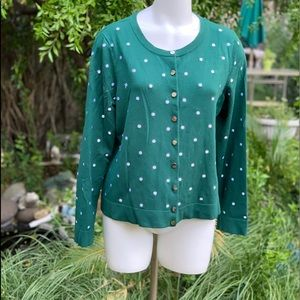 CHARTER CLUB Polka Dot Embroidered Cardigan PXL